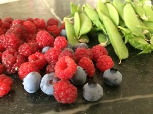 Raspberries, blueberries, sugarsnap peas